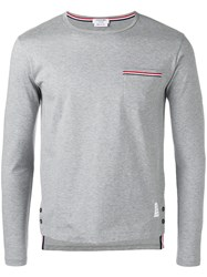 Thom Browne Longsleeve Pocket T Shirt Grey