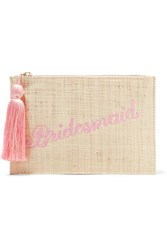 Kayu Bridesmaid Embroidered Woven Straw Pouch Sand