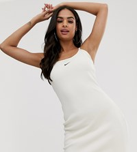 Nike Cream Ribbed Bodycon Mini Swoosh Dress