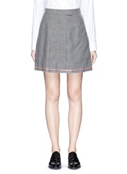 Thom Browne Pleated Wool Mini Skirt Grey