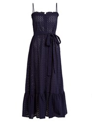 Lisa Marie Fernandez Ruffled Hem Broderie Anglaise Cotton Slip Dress Navy
