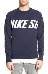 Men's Nike Sb 'Everett Motion' French Terry Crewneck Sweatshirt Obsideon Blue White