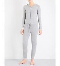 Pepper And Mayne Hooded Cashmere Jumpsuit Silver Grey
