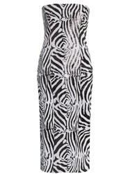 Halpern Zebra Print Sequin Embellished Midi Dress Black