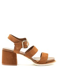 Tod's Suede Block Heel Sandals Brown