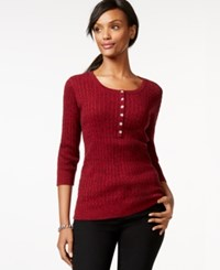Karen Scott Three Quarter Sleeve Scoop Neck Top Only At Macy's New Red Amore