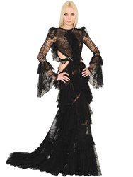 Roberto Cavalli Cutout Frilled Silk Georgette Dress