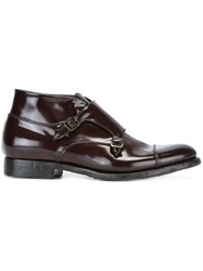 Silvano Sassetti Monk Strap Ankle Boots Red