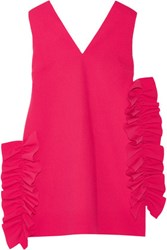 Msgm Ruffled Crepe Mini Dress Fuchsia