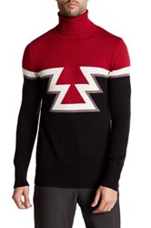 Parke And Ronen Aztec Knit Turtleneck Sweater Red
