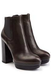 Hogan Leather Platform Ankle Boots Brown