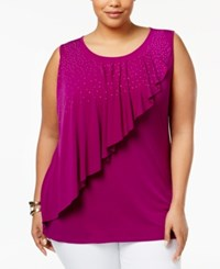 Belldini Plus Size Embellished Asymmetrical Overlay Top Morado