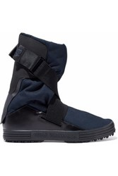 Y 3 Leather Paneled Mesh Boots Midnight Blue