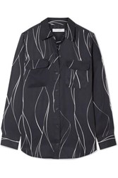 Equipment Slim Signature Printed Washed Silk Blend Shirt Black