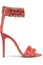 Just Cavalli Leather Sandals Papaya