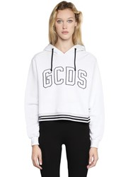 Gcds Embroidered Hooded Cotton Sweatshirt