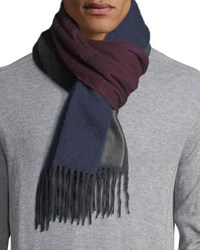 Begg And Co Reversible Ombre Scarf W Fringe Blue