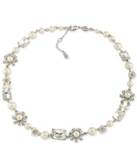 Carolee Silver Tone Crystal And Imitation Pearl Collar Necklace