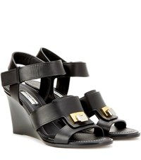 Balenciaga Embellished Leather Wedge Sandals Black