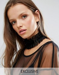 Monki Exclusive Wide Ruffle Choker Necklace Black