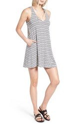 Socialite Women's Pocket Tank Dress Ivory Black Highway Stripe