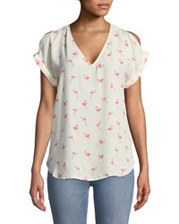 London Times Cold Shoulder Flamingo Tee Multi Pattern