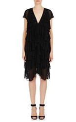Givenchy Women's Ruffled Cap Sleeve Dress Black