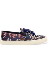 Tory Burch Jessie Embellished Jacquard Slip On Sneakers Navy