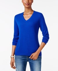 Charter Club Petite Cashmere V Neck Sweater Only At Macy's Bright Blue