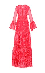 Costarellos Floral Applique Long A Line Dress Pink