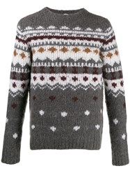 Eleventy Embroidered Sweater Grey