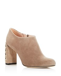 Furla Lara Embellished High Heel Booties Beige Gold