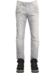Balmain 17Cm Biker Destroyed Raw Denim Jeans