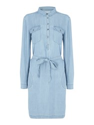Part Two Chambray Shirt Dress Blue