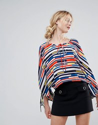 Traffic People Striped Boatneck Top Red