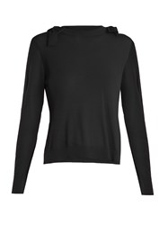 Simone Rocha Bow Detail Fine Knit Sweater Black