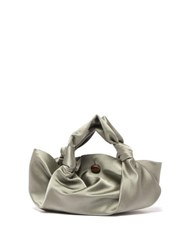 The Row Ascot Grey Satin Clutch Bag Light Green