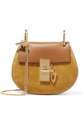 Chloe Drew Nano Leather And Suede Shoulder Bag Brown