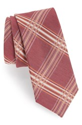 The Tie Bar Kp Plaid Silk And Linen Marsala