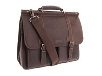 Kenneth Cole Reaction Colombian Leather Dowel Rod Portfolio Computer Case Dark Brown Briefcase Bags