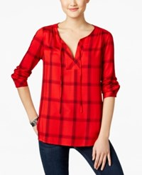 G.H. Bass And Co. Plaid Peasant Top Ruby Combo
