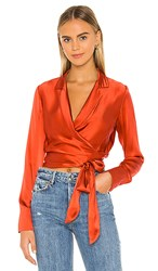 Amanda Uprichard Shanice Top In Burnt Orange. Rhubarb