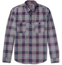 J.Crew Slim Fit Plaid Cotton Flannel Shirt Navy