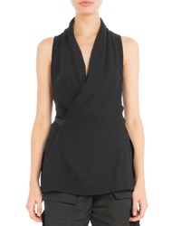 Rick Owens Side Tie Sleeveless Wrap Blouse Black