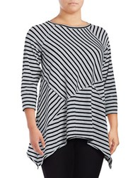 Calvin Klein Performance Plus Three Quarter Sleeve Crewneck Striped Tee Black