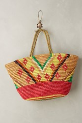 Anthropologie Frayed Sunshine Straw Tote Red