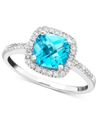 Macy's Blue Topaz 1 3 8 Ct. T.W. And Diamond 1 5 Ct. T.W. Ring In 10K White Gold