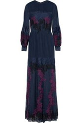 Mikael Aghal Lace Paneled Pintucked Chiffon And Embroidered Tulle Gown Indigo