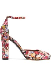 Tabitha Simmons Petra Floral Print Leather Pumps Red