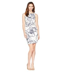 Ivanka Trump Sleeveless Rounded Neck Floral Dress W Ruched Side Ivory Multi Bone